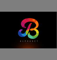 B alphabet letter rainbow colored logo company vector