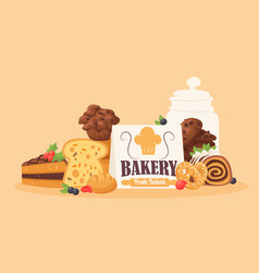 bakery products poster for vector image