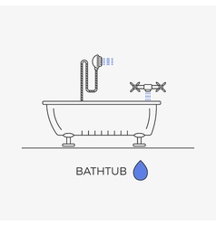 Bathtub shower and faucet thin line icons in one vector