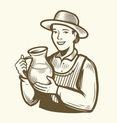 beautiful young woman with jug milk dairy farm vector image