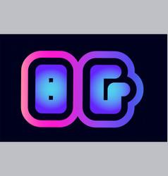 Bg b g pink blue gradient alphabet letter logo vector