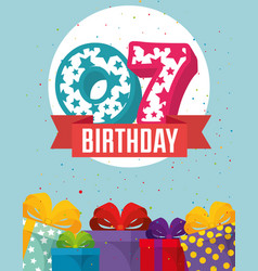 Birthday card with candle number seven vector