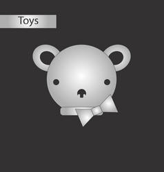 black and white style toy bear vector image