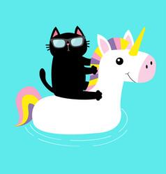 Black cat floating on white unicorn pool float vector