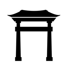 black icon chinese gate vector image