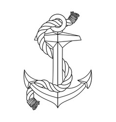 Black white rope outline sea icon anchor vector