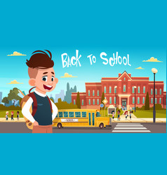 boy going back to school over group of pupils vector image