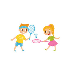 Brother and sister playing badminton two cheerful vector