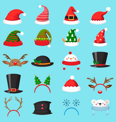 cartoon christmas hat xmas different hats winter vector image