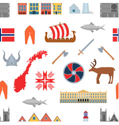 cartoon norwegian travel and tourism seamless vector image