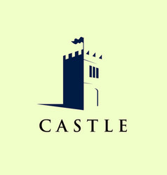 castle logo template in negative space icon vector image