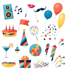 Celebration set party icons and objects vector