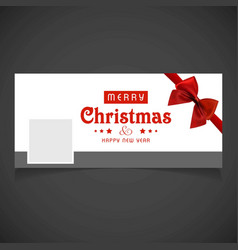 Christmas social media cover with red bow vector