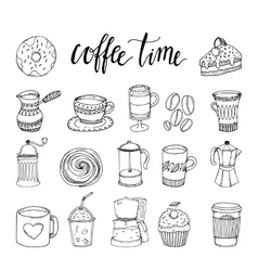 Coffee Hand Drawn Monochrome Elements Set vector