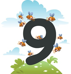 Collection number for kids farm animals - number 9 vector