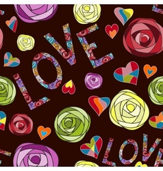 Colored art rose pattern Love seamless pattern vector image