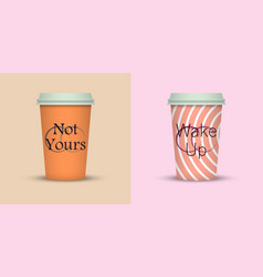 Colorful coffee in plastic cup with text vector