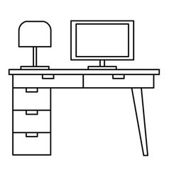 computer table icon outline style vector image