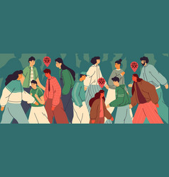 Crowd people in city during an epidemic vector