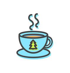 Cup of hot tea christmas vector