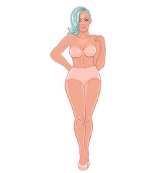 Curvy girl in beige underwear isolated on white vector