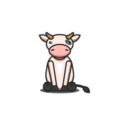 cute cartoon cow toy character children sitting vector image