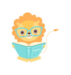 Cute smart lion in glasses reading book funny vector