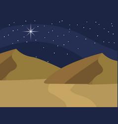 Desert at night cartoon vector