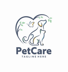 Dog and cat logo template vector