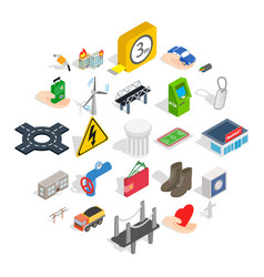 Electro business icons set isometric style vector