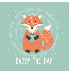 Enjoy the day card with a cute fox vector image