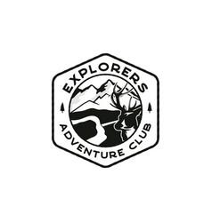 explorers logo emblem vintage hand drawn vector image