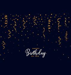 Falling golden confetti happy birthday background vector