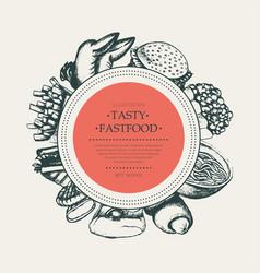 fast food - modern hand drawn round banner vector image