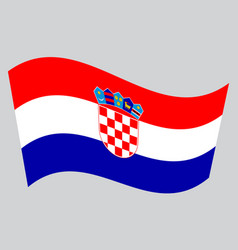 Flag of croatia waving on gray background vector