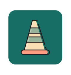 Flat color road barrier icon vector