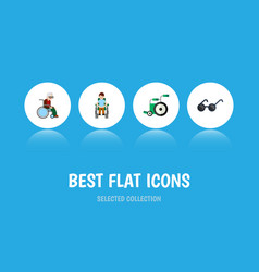 flat icon cripple set of equipment disabled vector image