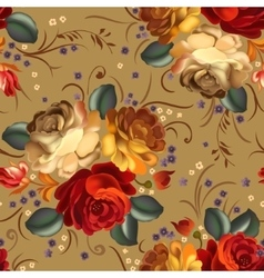 Floral seamless pattern with vintage flowers vector