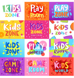 game room kids playroom banner in cartoon vector image