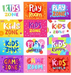 Game room kids playroom banner in cartoon vector