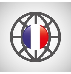 Globe sphere flag france country button graphic vector