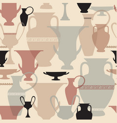 greek vase seamless pattern interiors background vector image
