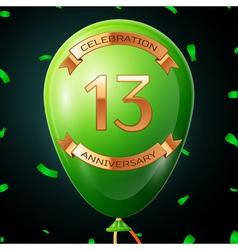 Green balloon with golden inscription thirteen vector
