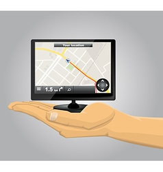Hand Holding a GPS vector image