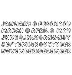 Handwritten names of months vector