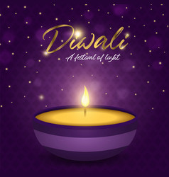 happy diwali festival card gold indian diya candle vector image