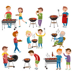 Happy people eating and cooking grilled meat vector