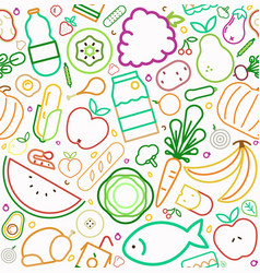 Healthy food line icons seamless pattern vector