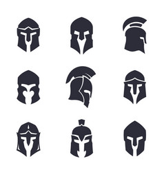 Helmets set spartan greek and roman vector