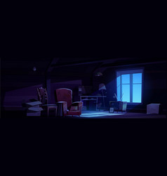 House attic at night storage old furniture vector